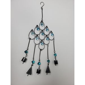 Drop wrought glass wind chime with metal bells.
